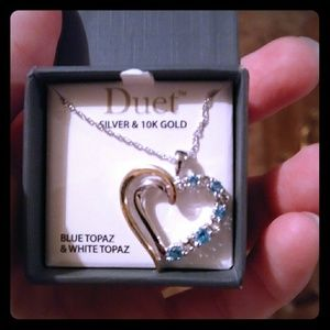 Blue topaz silver and gold heart necklace
